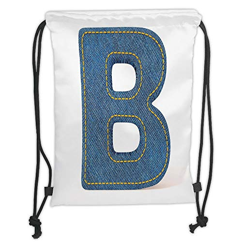 Fevthmii Drawstring Backpacks Bags,Letter B,Jeans Clothing Retro Fashion Style Alphabet Elements Youth Typography Design Decorative,Blue Yellow Soft Satin,5 Liter Capacity,Adjustable String