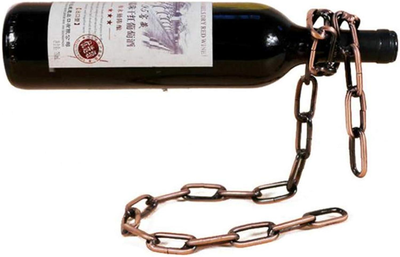 Red Wine Shelf Wine Bottle Holder,Creative Magic Floating Chain Wine Rack Decorative Crafts, for Kitchen Restaurant bar European Retro Wrought Iron Wine Rack,Silver (color   Brass)