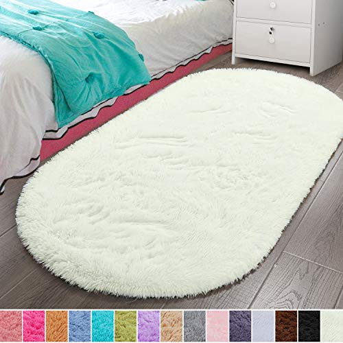 LOCHAS Luxury Velvet Fluffy Carpet Soft Children Rugs Room Mat Modern Shaggy Area Rug for Bedroom Bedside Home Decor 2.6' x 5.3', Creamy
