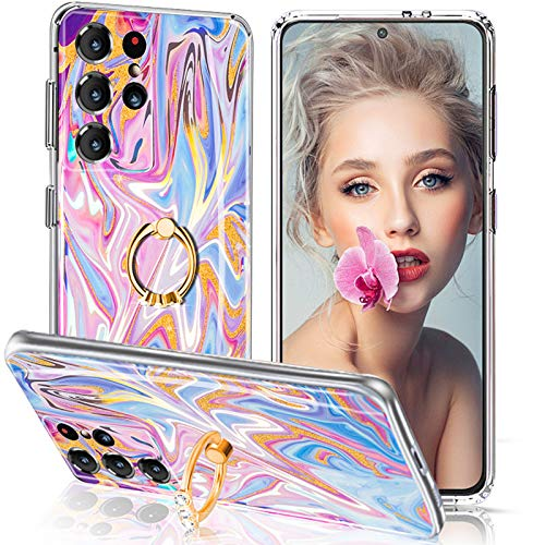 S21 Ultra Carcasa de silicona para Samsung Galaxy S21 Ultra 5G mármol Cover multicolor con Bling Diamante 360 anillo soporte flexible móvil S21 Ultra 5G 6.8 pulgadas 2021
