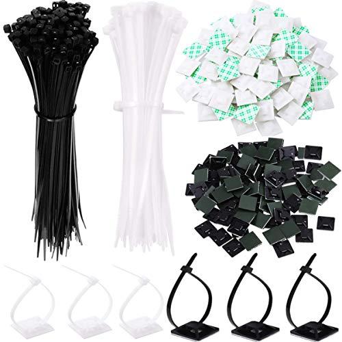 Biluer 200PCS Selbstklebende Kabelklemme Basis Halter Klebebefestigungen And 200PCS Kabelbinder für Home Office Garage und Werkstatt