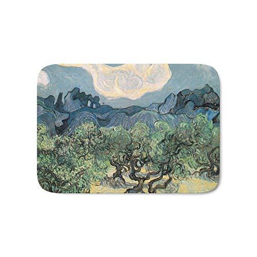 WAXB Teppich Olivenbäume. Badematte Muster Korallenteppich Anti-Rutsch-Fußmatte Home Decor Badezimmer Veranda Küche Schlafzimmer Büro Bodenmatte