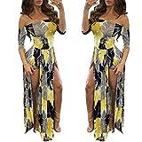 Women Summer Overlay Shorts Split Maxi Dress Party Beach Sexy Dresses 2021 Yellow L
