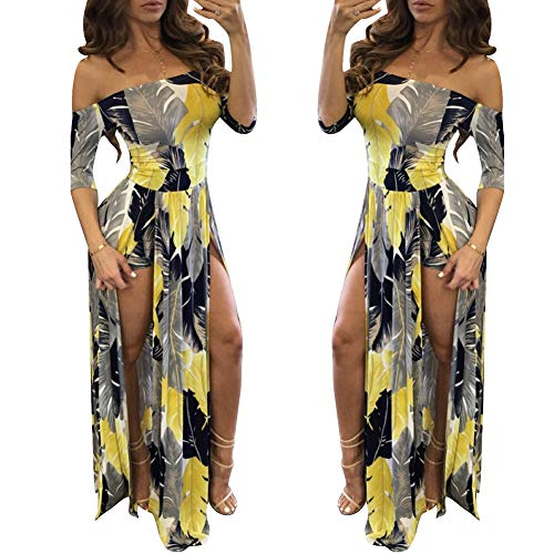 Overlay Shorts Split Maxi Dress Party Split Maxi Dress 2017 Summer Yellow L ?-