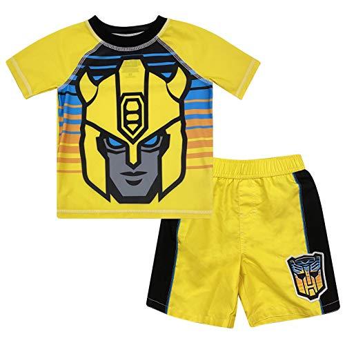 Transformers Bumblebee Toddler Boys Costume Rash Guard Swim Trunks Set Yellow 2T