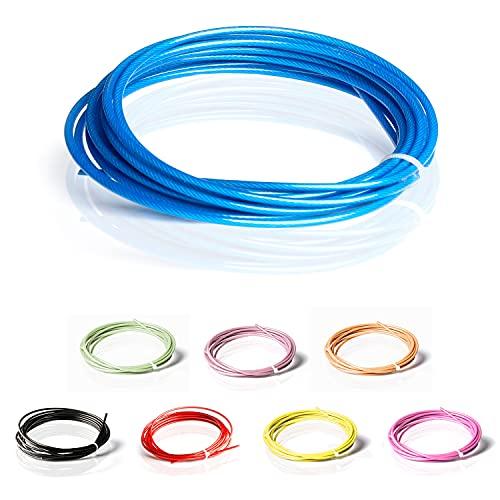 ActiveVikings Springseil Ersatzkabel PVC Schutzmantel mit 2mm Stahlseil | Ersatzseil ist kompatibel mit Anderen Marken (Blau)