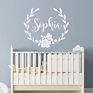 Personalized Flower Wreath Name Vinyl Decal Rose Wall Decal Rustic Nursery Children Girls Bedrom Decor (12.5