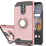 Stylo 3 / Stylus 3 / Stylo 3 Plus Case with HD Screen Protector,Ymhxcy 360 Degree Rotating Ring & Bracket Rubber Dual Layer Shock Bumper Resistant Back Cover for LS777-ZH Rose Gold