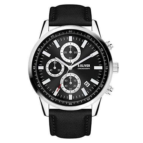 s.Oliver Herren Analog Analogquarz Uhr mit Kunstleder Armband SO-4113-LC