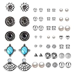 Assorted Design Style of Stud Earrings, from modern style and bohemia retro style, you can choose any style whenever you want on any occasion, Total of 27 Pairs earrings, comes in 3 card pack. Comes in Mixed Sizes and Designs, Material: Alloy, Nickel...