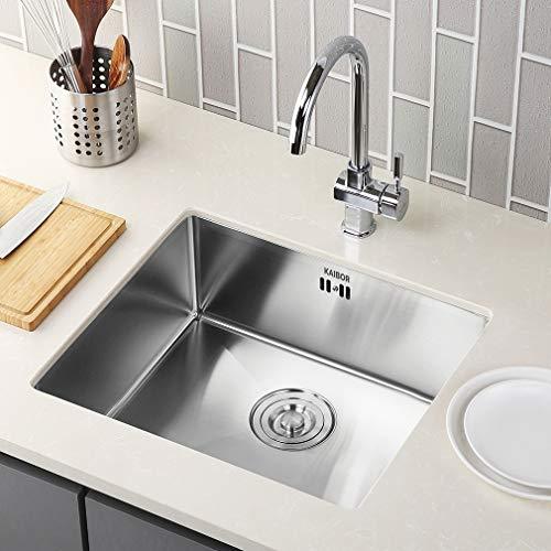 KAIBOR Küchenspüle Edelstahl mit Siphon Ablaufgarnitur für 55cm Unterschränke Spülbecken Einzelbecken für Küche, Flächenbündig/Unterbau - Eckige Edelstahlspüle,kleine Spüle 50x43CM