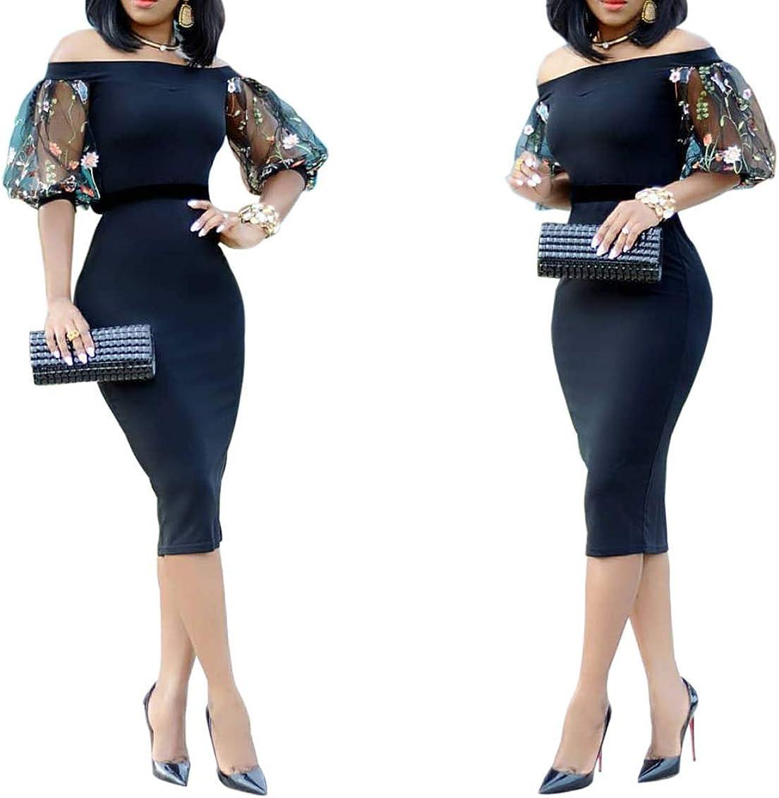ECHOINE Womens Sexy Mesh Printed Dress - Bodycon Off Shoulder Party Midi Dresses Clubwear