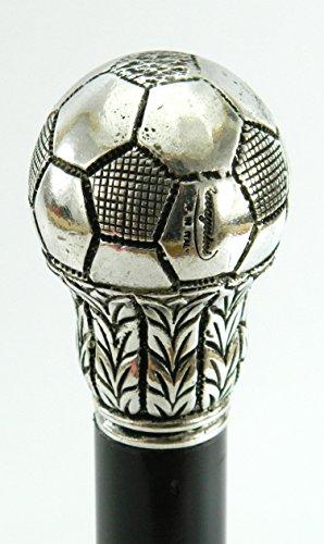 Spazierstock, elegant, Holz und Metall-Fass, silber, schwarz,Gehstock ball Cavagnini, anpassbare