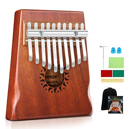 Donner Kalimba Thumb Piano 10 Keys, Kids Musical Instrument Thumb Piano, Portable African Wood Finger Piano Mbira Sanza with Tuning Hammer and Study Instruction, Gift for Beginners DKL-10