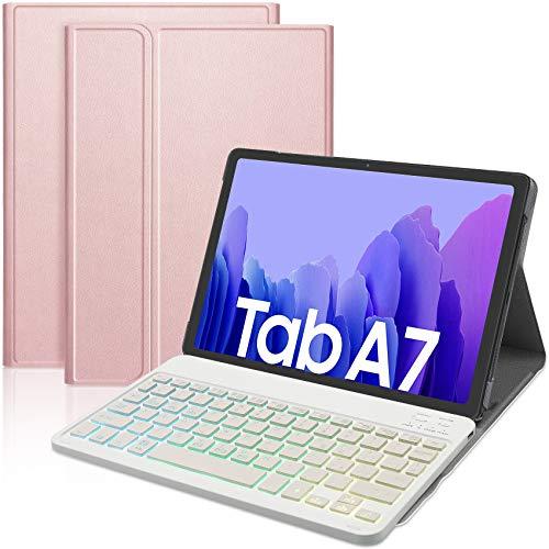 IVSO Italiana Tastiera Compatibile con Samsung Galaxy TAB A7,con é.ç.§,per Samsung Galaxy TAB A7 Tastiera,7 Colori Backlit Wireless Tastiera per Samsung Galaxy TAB A7 T505/T500/T507 10.4 2020,Oro rosa