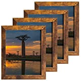 8x10 Picture Frames Rustic Distressed Brown for Wall or Table Top Display, Packs 4