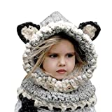 BicycleStore Kids Winter Hat, Girls Boys Knit Caps Scarf Hats (6-10 Years) Grey