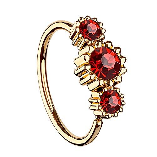 Piersando Universal Piercing Ring für Septum Tragus Helix Ohr Nase Lippe Brust Intim mit 3 Strass Kristallen Rosegold Vergoldet Rot
