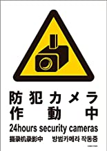 標識スクエア 「 防犯カメラ作動中 」 タテ・中【 プレート 看板 】 138x194㎜ CTK3040 2枚組