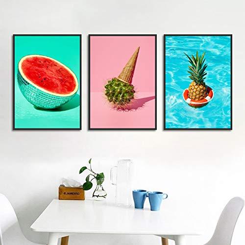 RHBNVR HD-print canvas schilderij 3 stuks canvas kunst watermeloen fruit schilderij huis decoratie cactus ijs poster Hd Print muurkunst