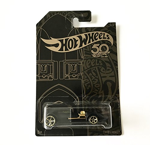 Hot Wheels 2018 50th Anniversary Black & Gold Series 1/64 Scale Diecast Model Car (Twin Mill 2/6)