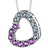 Peora Amethyst and London Blue Topaz Heart Pendant Necklace Sterling Silver