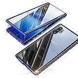 Jonwelsy Hülle für Samsung Galaxy Note 10 Plus 5G (6,8 Zoll), Magnetische Adsorption Metall Stoßstange Flip Cover mit 360 Grad Schutz Doppelte Seiten Transparent Gehärtetes Glas Handyhülle (Blau)