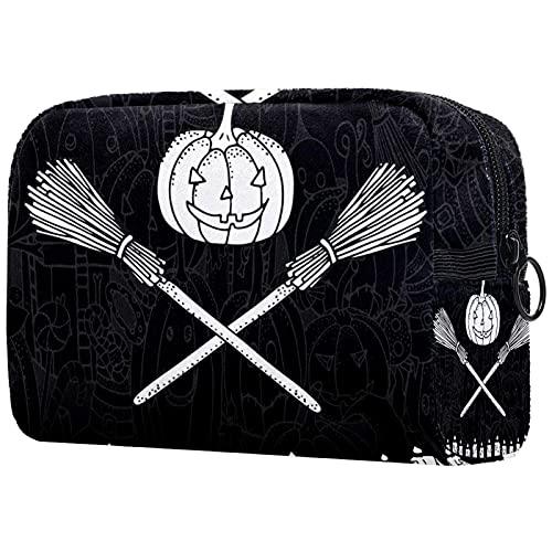 Kosmetiktasche Make-up-Tasche mit Reißverschluss, Halloween-Symbole