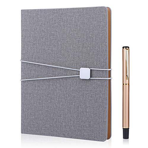 FOBOZONE Cuaderno de lino A5, rellenable, hojas sueltas, con forro clásico con bolsillo, diseño de banda elástica, 100 hojas de papel de 100 g/m² (gris)