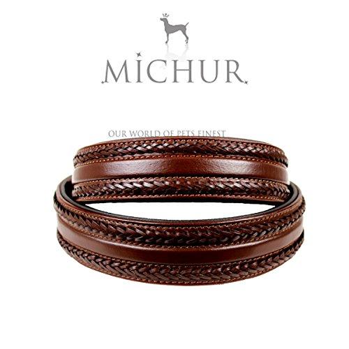 MICHUR Maria BRAUN Hundehalsband Leder, Halsband Leder, Lederhalsband Hund, BRAUN, Breit, geflochten, in verschiedenen Größen erhältlich