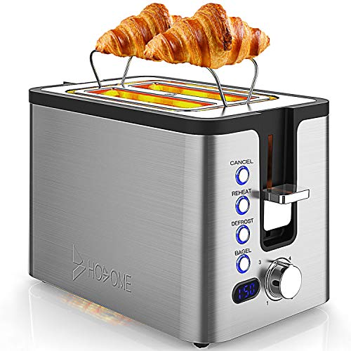 2 Slice Toaster, Hosome Stainless Steel Bread Bagel Toaster Extra Wide Slots Toasters...