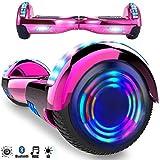 Magic Vida Skateboard Électrique 6.5 Pouces Bluetooth Puissance 700W avec Pneu à LED Gyropode Auto-Équilibrage de Bonne qualité pour Enfants et Adultes(Rose Chromé