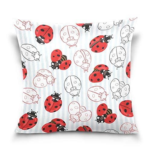 HMZXZ Funda de almohada decorativa de 45,7 x 45,7 cm, diseño de mariquitas rojas, rayas azules
