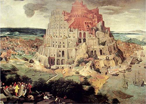YMX DIY Family Niederländische Gemälde, Babylon Tower-Painting Zeichnung nach Zahlen Kits mit Pinselfarben für Erwachsene Kinder 40X50Cm Kein Rahmen