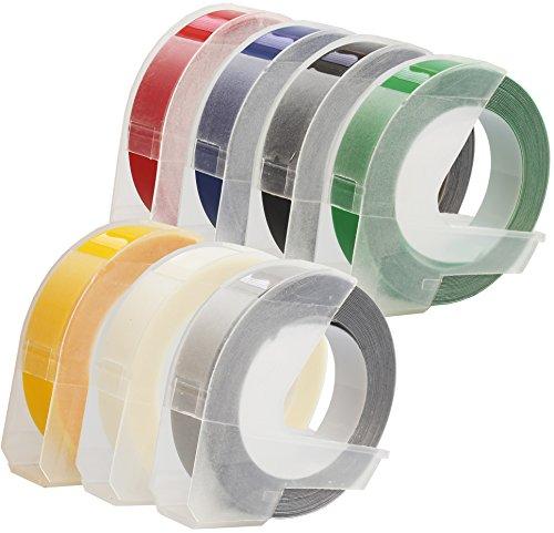 Prestige Cartridge 7er Set 3D Prägeband Weiß auf Schwarz Rot Blau Grün Gelb Transparent Silber 9mm x 3m kompatibel für Prägegeräte Dymo Junior und Omega