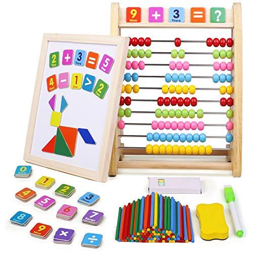 jerryvon Abaco Montessori Pizarra Magnetica Infantil con Puzzle Magnetico Abacus Material Matematicas Montessori Juguetes de Madera Juegos Educativos Regalos Juguetes Niños Niñas 3 4 5 6 Años
