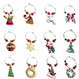 COSORO 12Pcs Xmas Wine Charms,Christmas Wine Glass Marker Drink Markers-Handmade Multi Colour Wine Glass Charms for Christmas Party Bar Table Decorations (Style 2)