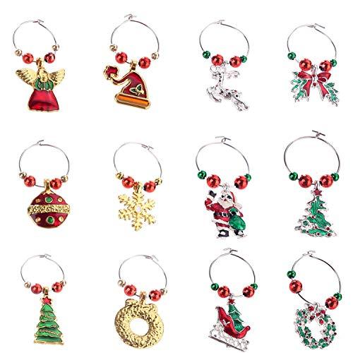 COSORO 12 Stücke Weinglas Charms Ringe Marker-Handmade Multi Color Weinglas Charms für Weihnachtsfeier Bar Tischdekorationen (Stil 2)