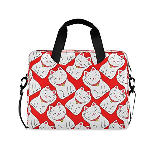 ALARGE Laptop Case Sleeve Japan Maneki Neko Luncky Cat 15-16 Inch Briefcase Travel Tote Messenger Notebook Computer Crossbody Bag with Strap Handle for Women Men