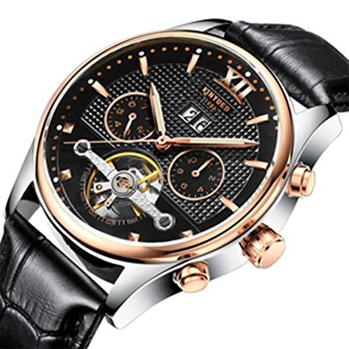 Reloj mecánico automático de lujo para hombre, decoración impermeable del Tourbillon, pequeña pantalla de fase de tres clavijas, luna, reloj de muñeca de vestir de negocios de tiempo mundial,Negro