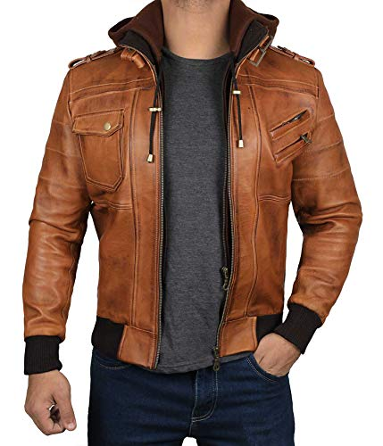 Decrum Brown Bomber Leather Jacket Men [1100153] | Edinburgh Tan, M