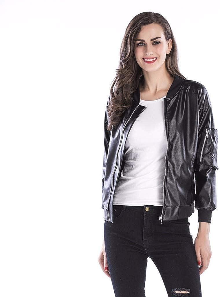 TOTOD Jacket for Women Faux Leather Motorcycle Jackets Zipper PU Slim Short Biker Coat Outwear