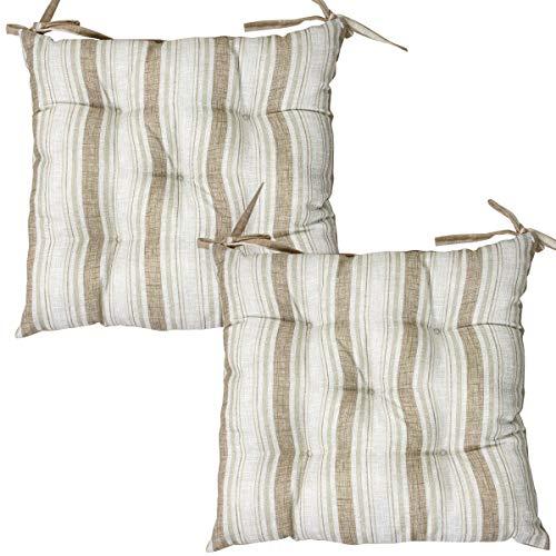 Viste tu hogar Pack 2 Cojines para Silla, 45X45 CM, Relleno de Algodón con Diseño de Rayas, Ideal para la Decoración de Cocina y Sala, Color Marrón, Fabricado en España
