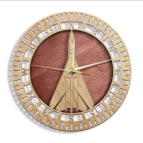 yrfchgj Reloj De Pared Reloj De Pared De Madera Piloto De Aviador Decoración del Hogar Ejército Táctico Avión Aviación Reloj De Pared con Corte Láser
