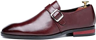 ZHANGLEI Business Oxford for Men Formal Shoes Slip on Synthetic Leather Pointed Toe Low Top Flat Anti-Slip Sewing Buckle Strap (Color : Liquor, Size : 5.5 UK)