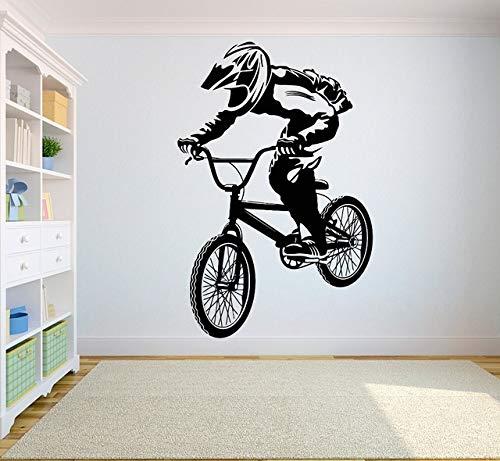 Etiqueta De Pared, Bicicleta De Montaña Competencia Vinilo Pegatinas De Pared Off-Road Atletas Competitivos Dormitorio Juvenil Decoración Del Hogar Calcomanía De Pared 57X87Cm