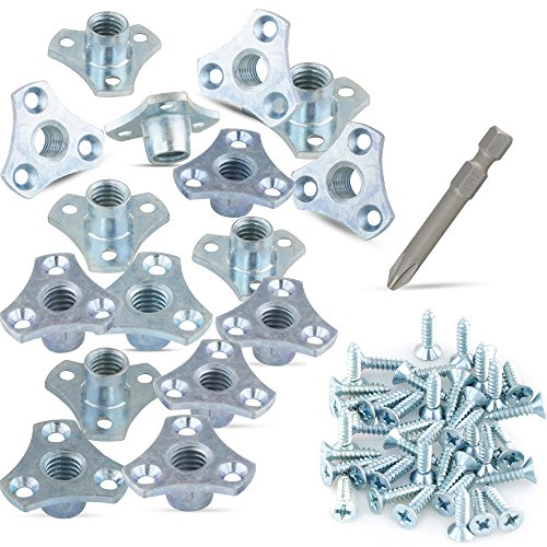 (16-Pack) 3/8-16 Screw-on Tee Nut Kit - T-Nuts Come with Screws and #2 Phillips Power Bit