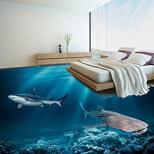 HD Underwater World Murales de suelo 3D Dormitorio Baño PVC Autoadhesivo Suelo impermeable Mural Papel tapiz Azulejos de suelo 3D Pegatinas-200x140cm_