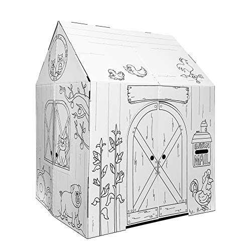 Easy Playhouse Barn - Kids Art & Craft for Indoor & Outdoor Fun  Color Favorite Farm Animals – Decorate & Personalize The Cardboard Fort  32  X 26. 5  X 40. 5  - Made in USA  Age 3+ [AMZN Exclusive]