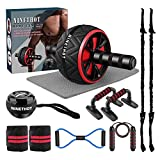 Ab Roller Set,9-in-1 Abs Workout Equipment,Home Gym Kit with Knee Mat,Push Up Bars,Jump...
